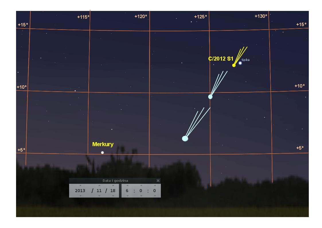 Niebo na wschodzie, 18 listopada 2013 przed wschodem Słońca