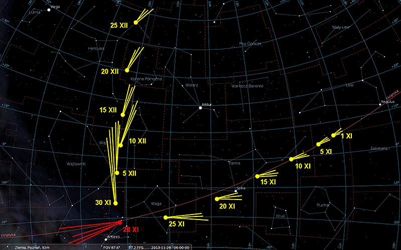 Droga komety ISON po niebie w listopadzie i grudniu 2013